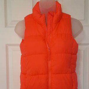 Old Navy | Neon Orange Girls Puffer Vest - 10/12